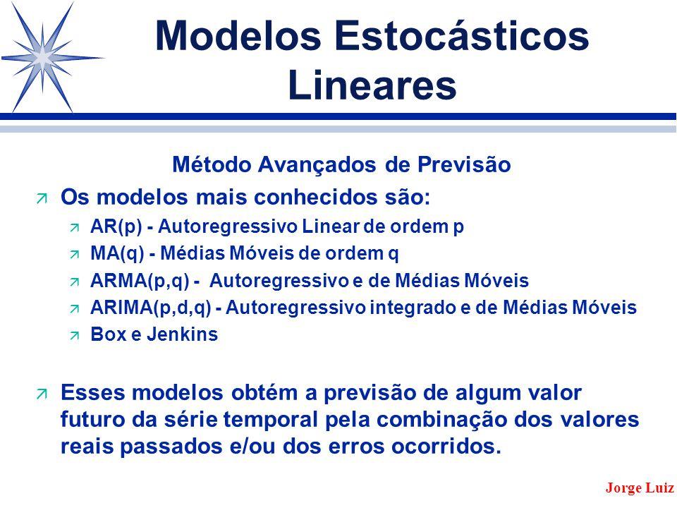 Modelos Estocásticos Lineares Método Avançados de Previsão ä Os modelos mais conhecidos são: ä AR(p) - Autoregressivo Linear de ordem p ä MA(q) - Médias Móveis de ordem q ä ARMA(p,q) - Autoregressivo e de Médias Móveis ä ARIMA(p,d,q) - Autoregressivo integrado e de Médias Móveis ä Box e Jenkins ä Esses modelos obtém a previsão de algum valor futuro da série temporal pela combinação dos valores reais passados e/ou dos erros ocorridos.