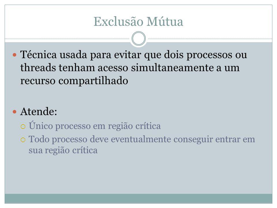 Exclusão Mútua Técnica usada para evitar que dois processos ou threads tenham acesso simultaneamente a um recurso compartilhado Atende:  Único proces