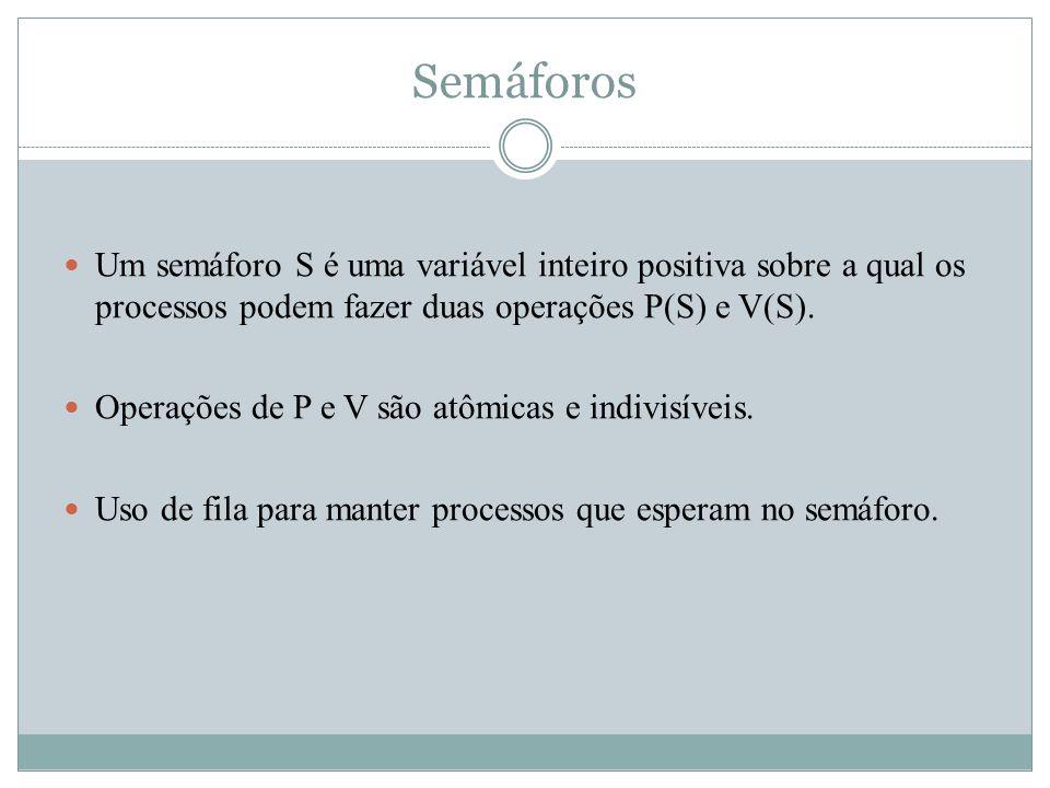 Um semáforo S é uma variável inteiro positiva sobre a qual os processos podem fazer duas operações P(S) e V(S). Operações de P e V são atômicas e indi