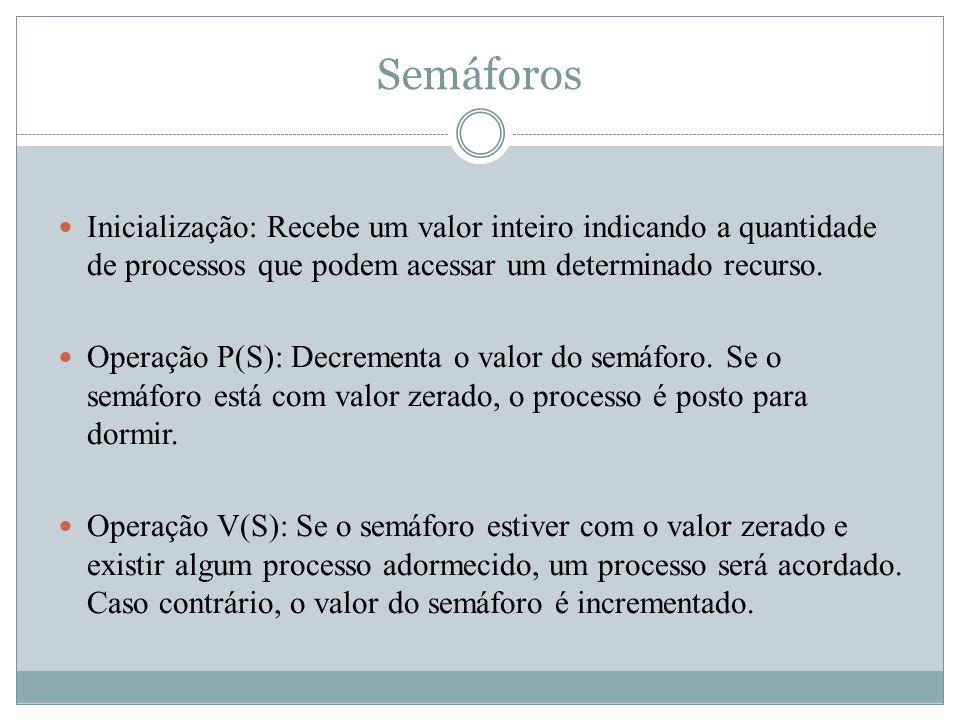 Semáforos Inicialização: Recebe um valor inteiro indicando a quantidade de processos que podem acessar um determinado recurso. Operação P(S): Decremen