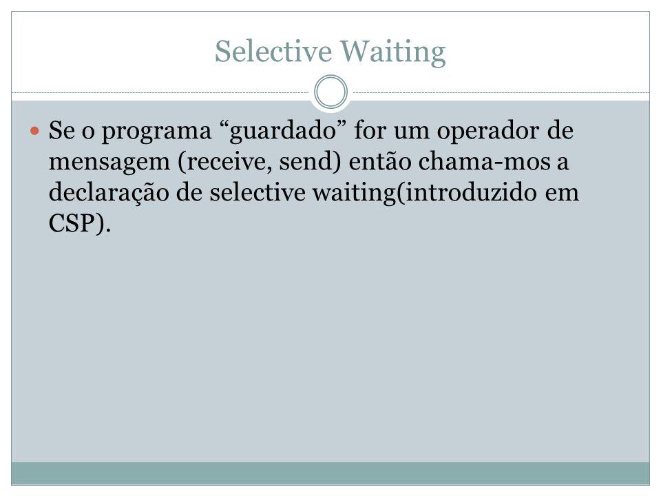 """Selective Waiting Se o programa """"guardado"""" for um operador de mensagem (receive, send) então chama-mos a declaração de selective waiting(introduzido e"""