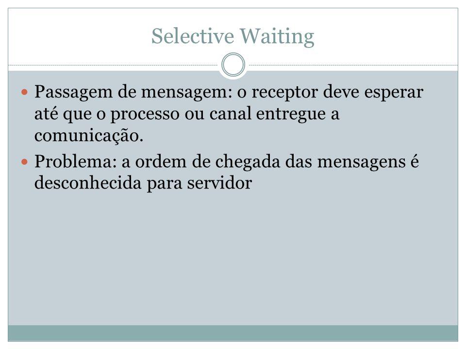 Passagem de mensagem: o receptor deve esperar até que o processo ou canal entregue a comunicação. Problema: a ordem de chegada das mensagens é desconh