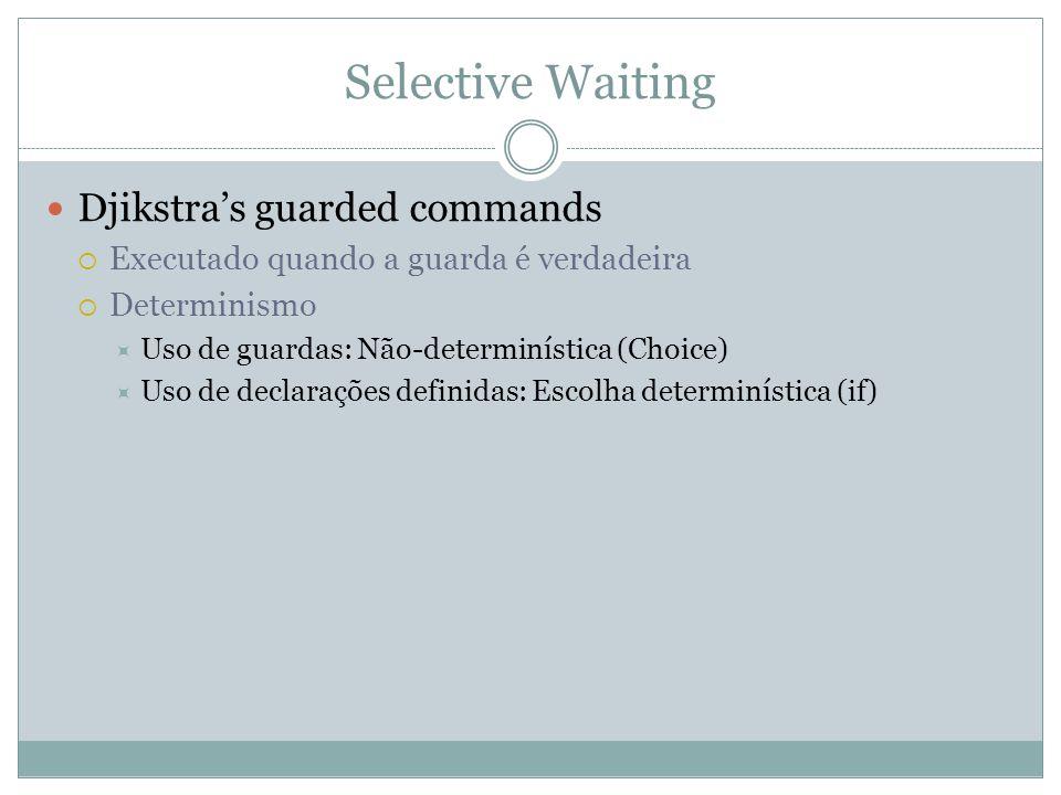 Djikstra's guarded commands  Executado quando a guarda é verdadeira  Determinismo  Uso de guardas: Não-determinística (Choice)  Uso de declarações