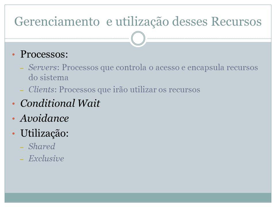 Gerenciamento e utilização desses Recursos Processos: – Servers: Processos que controla o acesso e encapsula recursos do sistema – Clients: Processos