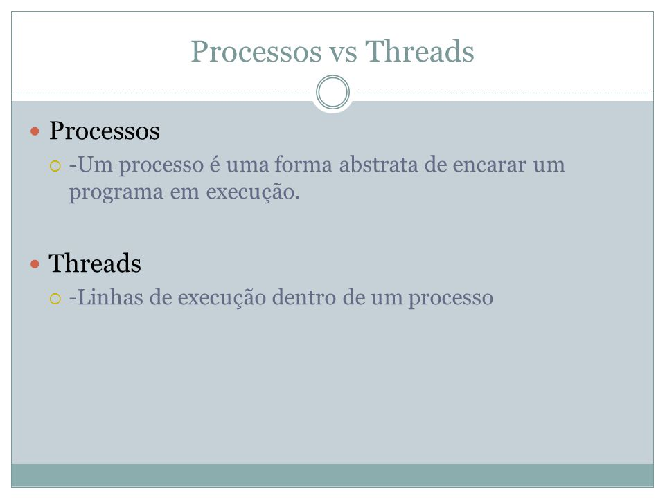 Diferenças ProcessosThreads Pode conter uma ou mais threadsTem um único processo como dono Cara comunicação entre processos(Troca de contexto) Comunicação barata, usa memória do processo.