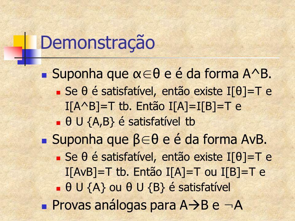 Demonstração Suponha que α∈θ e é da forma A^B.