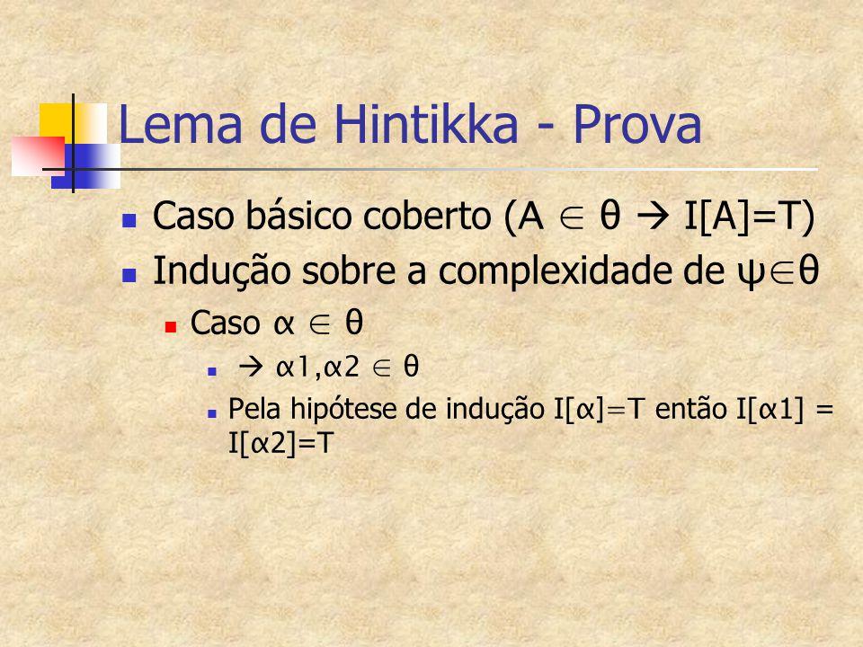 Lema de Hintikka - Prova Caso básico coberto ( A ∈ θ  I[A]=T) Indução sobre a complexidade de ψ∈θ Caso α ∈ θ  α1,α2 ∈ θ Pela hipótese de indução I[ α]=T então I[ α 1] = I[ α 2]=T