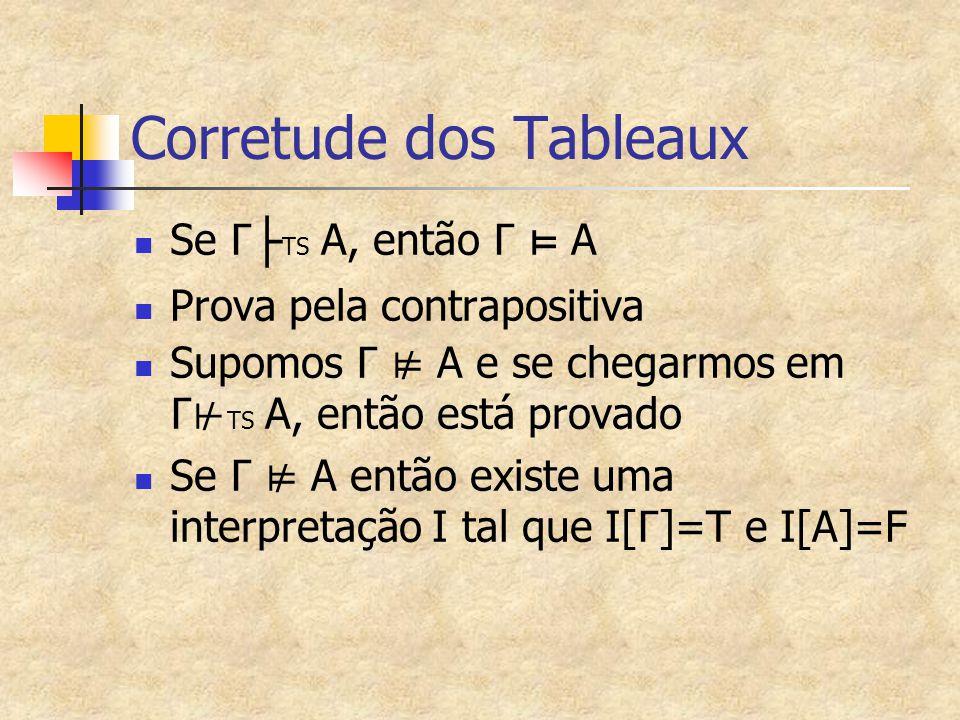 Corretude dos Tableaux Se Γ ├ TS A, então Γ ⊨ A Prova pela contrapositiva Supomos Γ ⊭ A e se chegarmos em Γ⊬ TS A, então está provado Se Γ ⊭ A então existe uma interpretação I tal que I[ Γ ]=T e I[A]=F