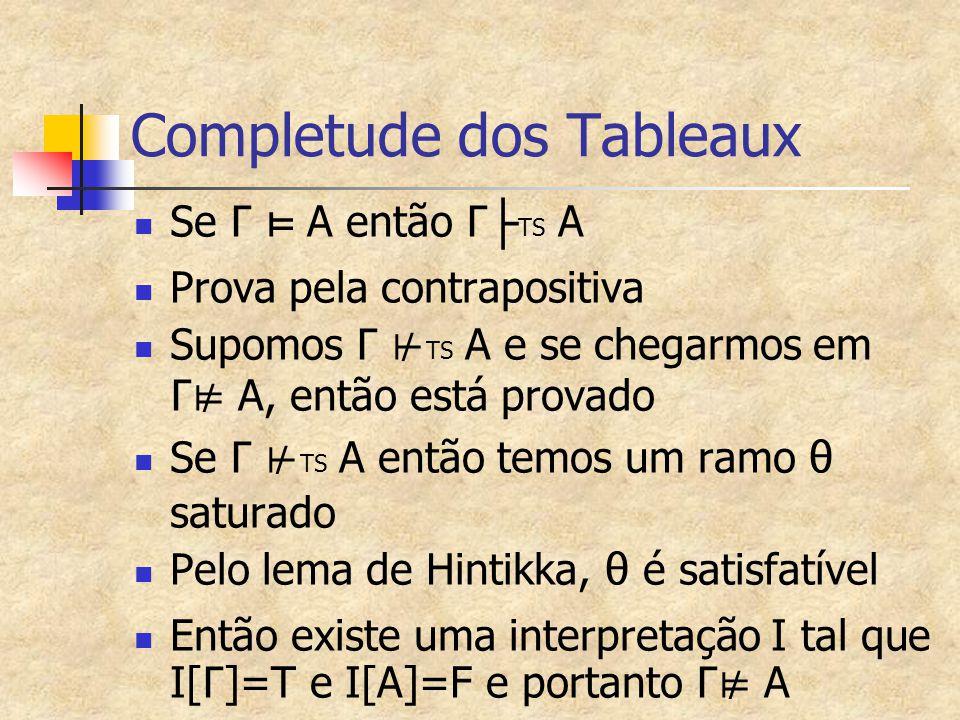 Completude dos Tableaux Se Γ ⊨ A então Γ ├ TS A Prova pela contrapositiva Supomos Γ ⊬ TS A e se chegarmos em Γ⊭ A, então está provado Se Γ ⊬ TS A então temos um ramo θ saturado Pelo lema de Hintikka, θ é satisfatível Então existe uma interpretação I tal que I[ Γ ]=T e I[A]=F e portanto Γ⊭ A