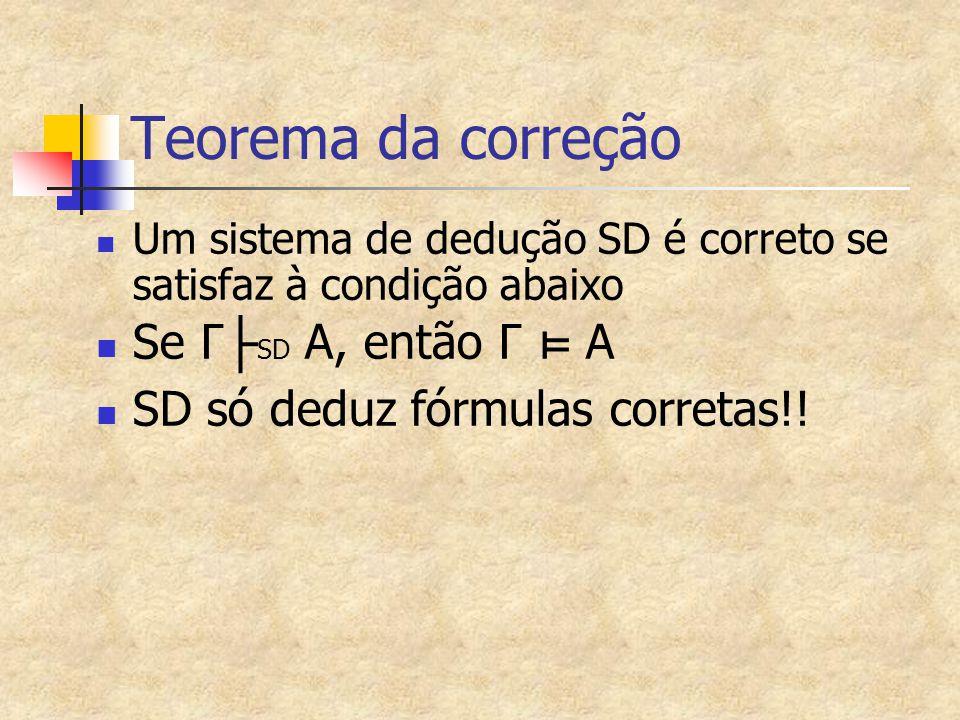 Teorema da correção Um sistema de dedução SD é correto se satisfaz à condição abaixo Se Γ ├ SD A, então Γ ⊨ A SD só deduz fórmulas corretas!!