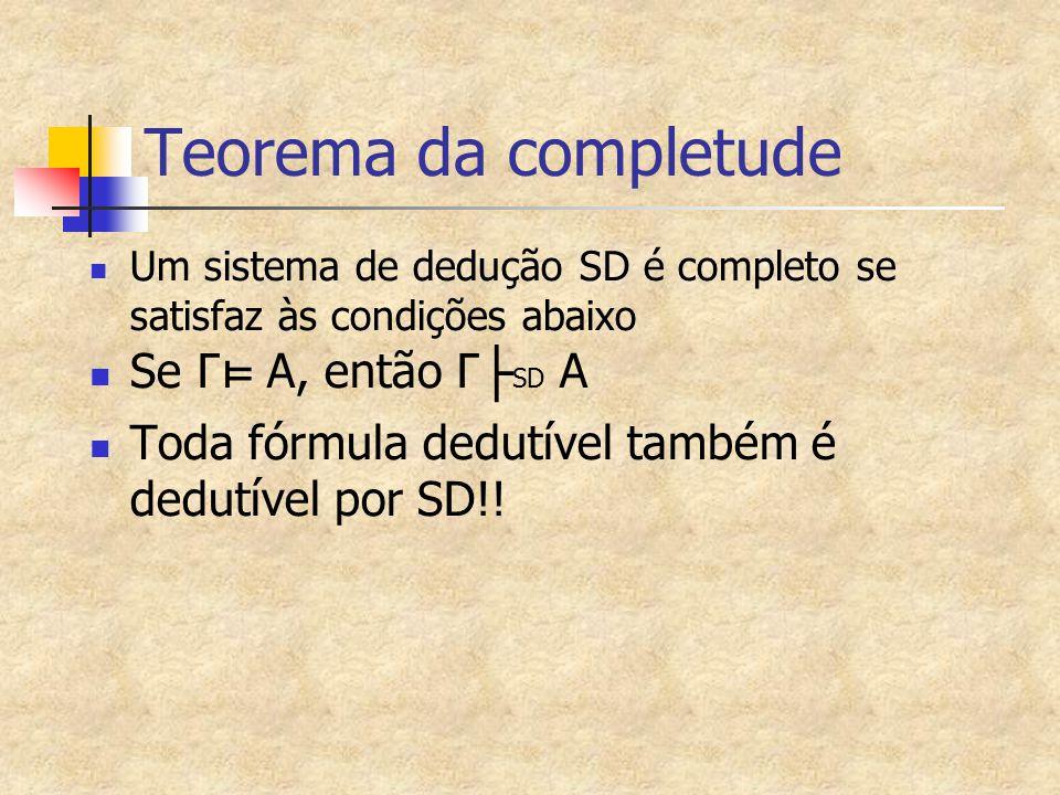 Conjuntos Saturados Um conjunto de fórmulas θ em que: Se existe uma fórmula em θ do tipo α, então α1 e α2 também estão em θ Se A é do tipo α e A ∈ θ  α1∈ θ e α2 ∈ θ Se existe uma fórmula em θ do tipo β, então β1 ou β2 também estão em θ Se A é do tipo β e A ∈ θ  β1∈ θ ou β2 ∈ θ