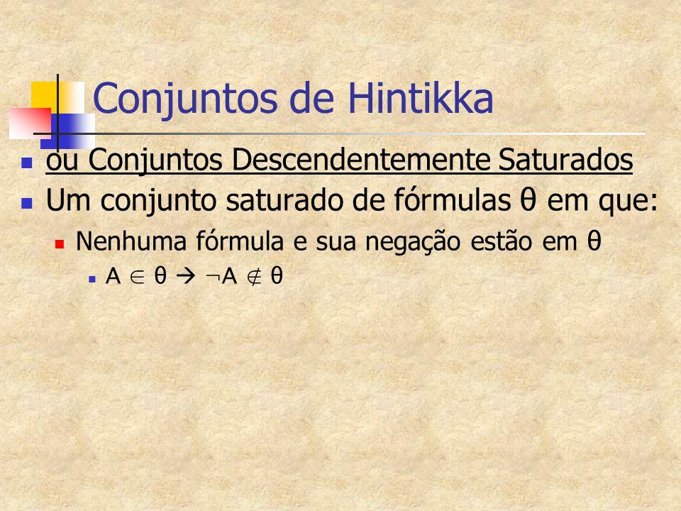 Conjuntos de Hintikka ou Conjuntos Descendentemente Saturados Um conjunto saturado de fórmulas θ em que: Nenhuma fórmula e sua negação estão em θ A ∈ θ  ¬A ∉ θ