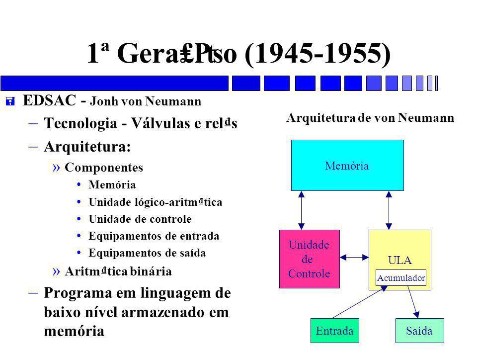 1ª Gera₤₧o (1945-1955) = EDSAC - Jonh von Neumann – Tecnologia - Válvulas e rel₫s – Arquitetura: » Componentes Memória Unidade lógico-aritm₫tica Unidade de controle Equipamentos de entrada Equipamentos de saída » Aritm₫tica binária – Programa em linguagem de baixo nível armazenado em memória Memória Unidade de Controle ULA EntradaSaída Acumulador Arquitetura de von Neumann