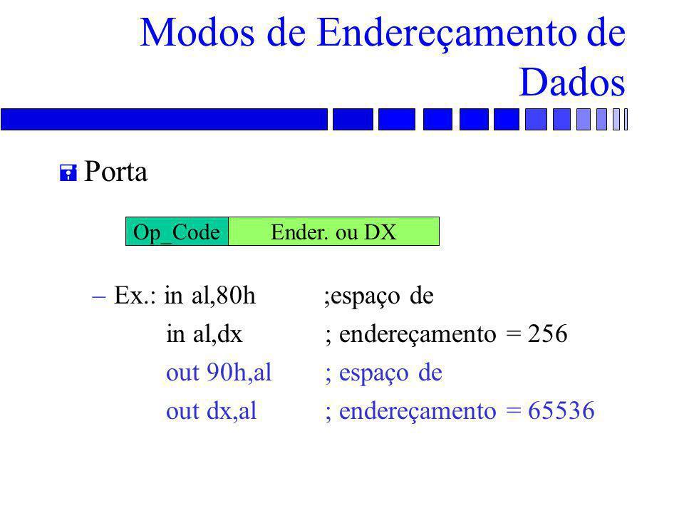 Modos de Endereçamento de Dados = Porta –Ex.: in al,80h ;espaço de in al,dx ; endereçamento = 256 out 90h,al ; espaço de out dx,al ; endereçamento = 65536 Op_CodeEnder.
