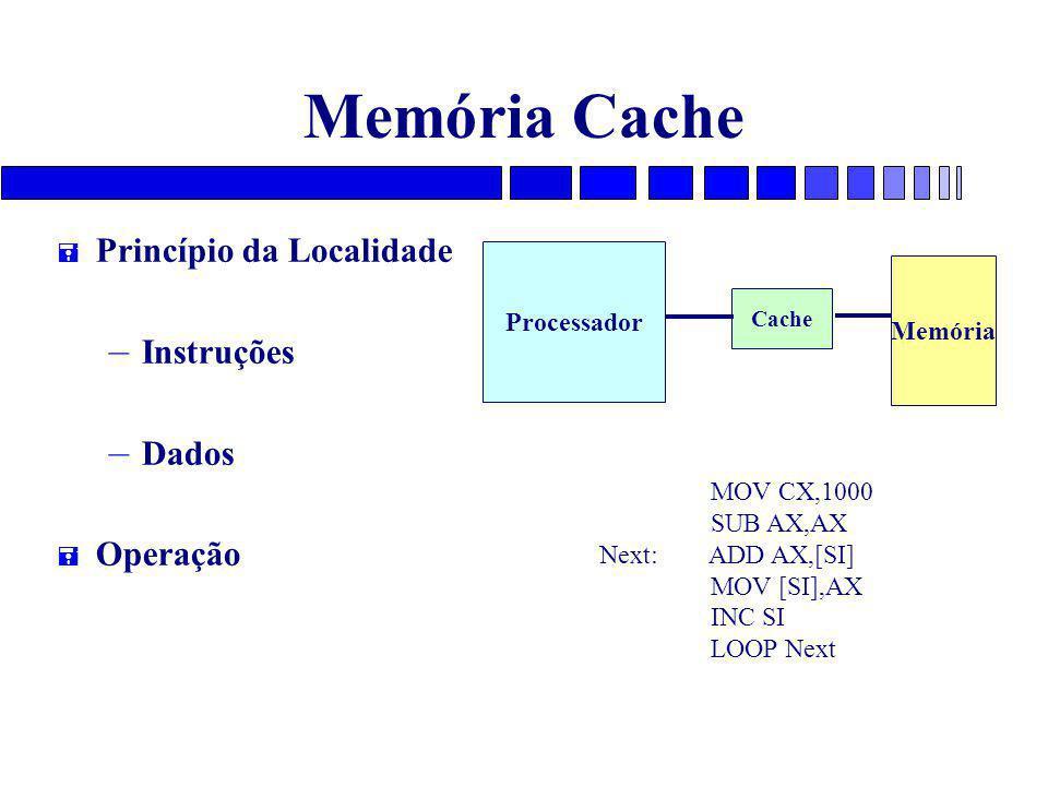 Memória Cache = Princípio da Localidade – Instruções – Dados = Operação Processador Cache Memória MOV CX,1000 SUB AX,AX Next: ADD AX,[SI] MOV [SI],AX