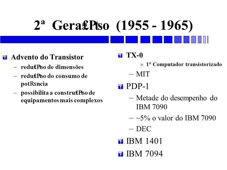 2ª Gera₤₧o (1955 - 1965) = Advento do Transistor – redu₤₧o de dimensões – redu₤₧o do consumo de pot ₨ ncia – possibilita a constru₤₧o de equipamentos mais complexos = TX-0 »1° Computador transistorizado – MIT = PDP-1 – Metade do desempenho do IBM 7090 – ~5% o valor do IBM 7090 – DEC = IBM 1401 = IBM 7094