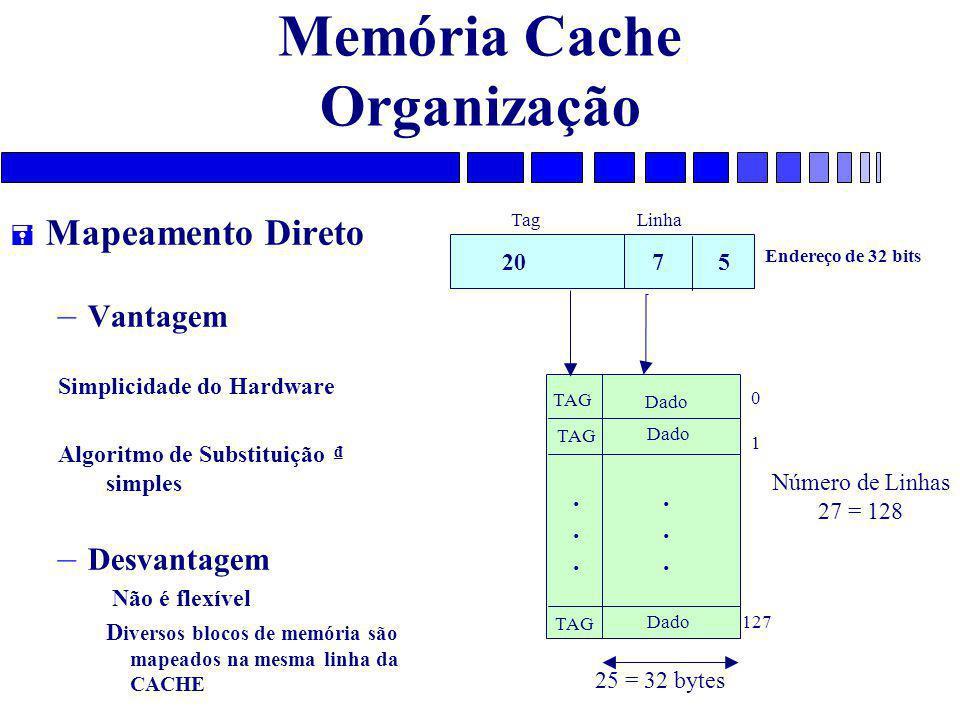 Memória Cache Organização = Mapeamento Direto – Vantagem Simplicidade do Hardware Algoritmo de Substituição ₫ simples – Desvantagem Não é flexível D iversos blocos de memória são mapeados na mesma linha da CACHE 20 7 5 Endereço de 32 bits Tag Linha TAG Dado............
