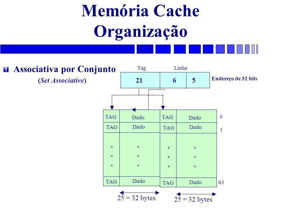 Memória Cache Organização = Associativa por Conjunto (Set Associative) TAG Dado............ 0 1 63 25 = 32 bytes TAG Dado............ 25 = 32 bytes 21