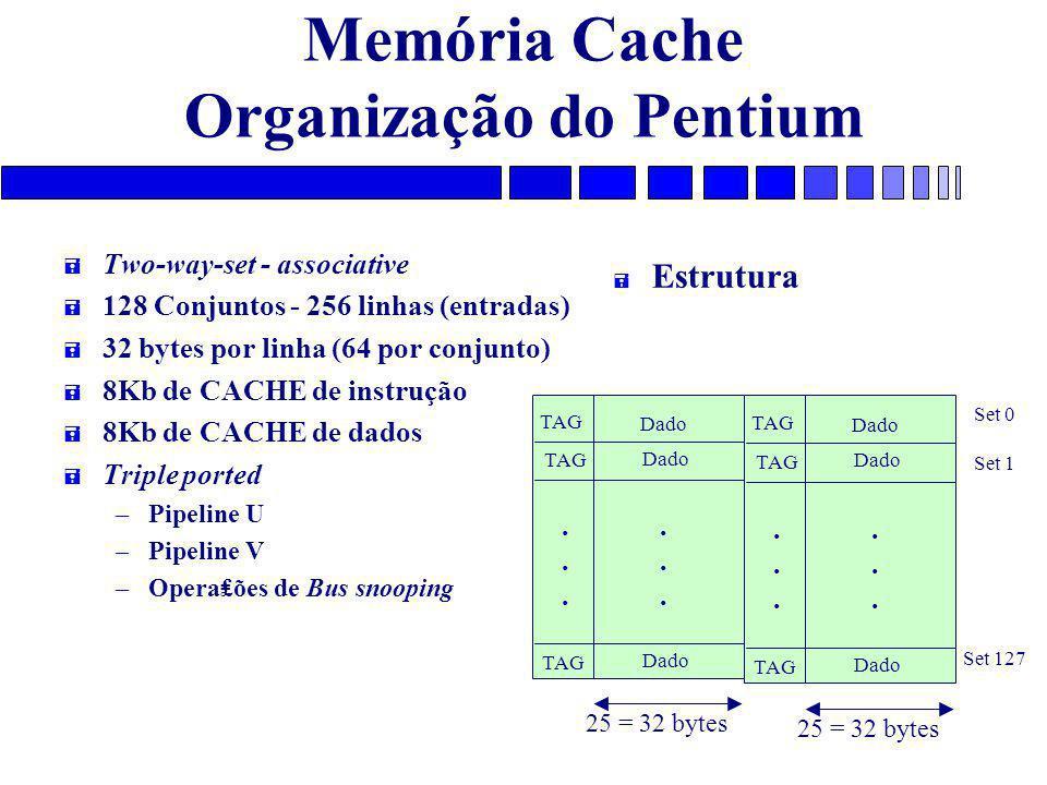Memória Cache Organização do Pentium = Two-way-set - associative = 128 Conjuntos - 256 linhas (entradas) = 32 bytes por linha (64 por conjunto) = 8Kb de CACHE de instrução = 8Kb de CACHE de dados = Triple ported – Pipeline U – Pipeline V – Opera₤ões de Bus snooping = Estrutura TAG Dado............