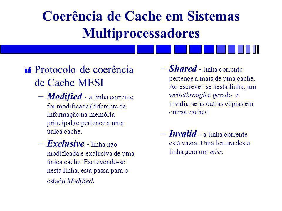 Coerência de Cache em Sistemas Multiprocessadores = Protocolo de coerência de Cache MESI – Modified - a linha corrente foi modificada (diferente da informação na memória principal) e pertence a uma única cache.