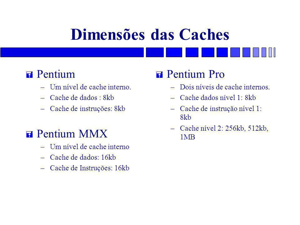 Dimensões das Caches = Pentium – Um nível de cache interno. – Cache de dados : 8kb – Cache de instruções: 8kb = Pentium MMX – Um nível de cache intern