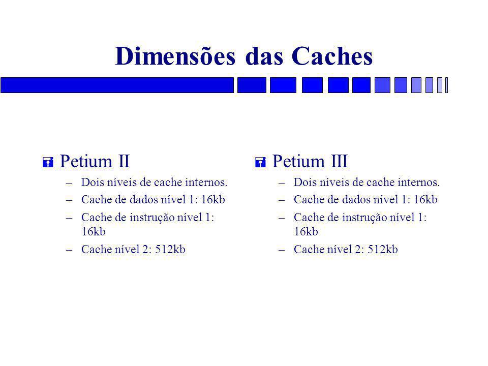 Dimensões das Caches = Petium II – Dois níveis de cache internos. – Cache de dados nível 1: 16kb – Cache de instrução nível 1: 16kb – Cache nível 2: 5