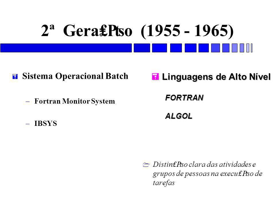 2ª Gera₤₧o (1955 - 1965) = Sistema Operacional Batch – Fortran Monitor System – IBSYS 1 Distin₤₧o clara das atividades e grupos de pessoas na execu₤₧o de tarefas  Linguagens de Alto Nível FORTRANALGOL