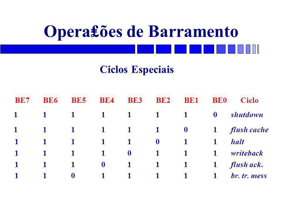 Opera₤ões de Barramento Ciclos Especiais BE7BE6BE5BE4BE3BE2BE1BE0Ciclo 1 1 1 1 1 1 1 0 shutdown 1 1 1 1 1 1 0 1 flush cache 1 1 1 1 1 0 1 1 halt 1 1 1 1 0 1 1 1 writeback 1 1 1 0 1 1 1 1 flush ack.