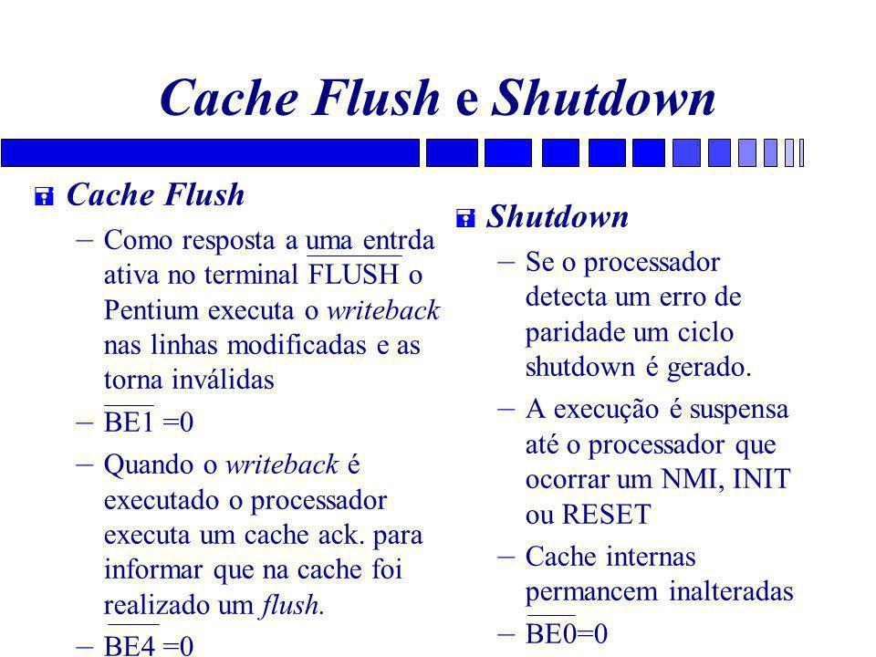 Cache Flush e Shutdown = Cache Flush – Como resposta a uma entrda ativa no terminal FLUSH o Pentium executa o writeback nas linhas modificadas e as torna inválidas – BE1 =0 – Quando o writeback é executado o processador executa um cache ack.