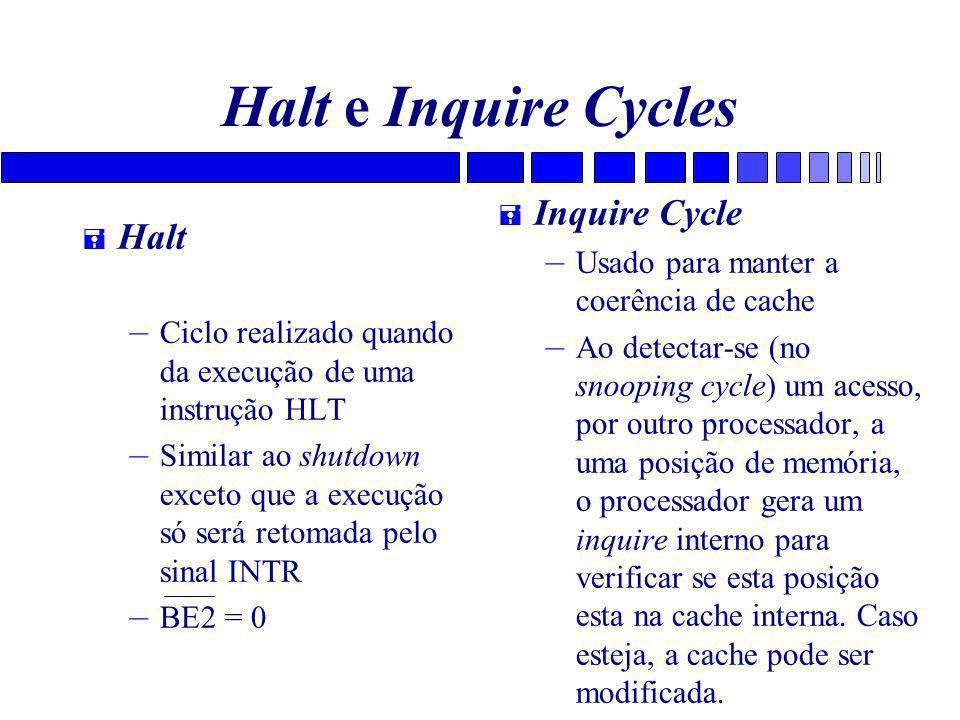 Halt e Inquire Cycles = Halt – Ciclo realizado quando da execução de uma instrução HLT – Similar ao shutdown exceto que a execução só será retomada pelo sinal INTR – BE2 = 0 = Inquire Cycle – Usado para manter a coerência de cache – Ao detectar-se (no snooping cycle) um acesso, por outro processador, a uma posição de memória, o processador gera um inquire interno para verificar se esta posição esta na cache interna.