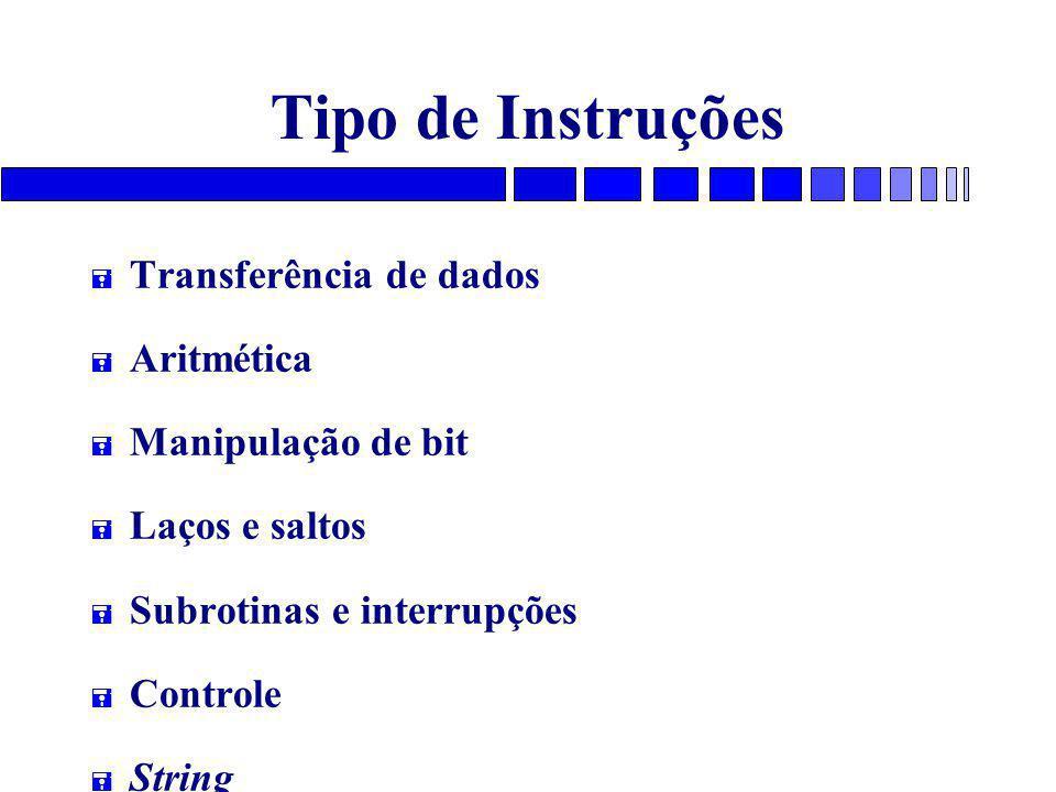 Tipo de Instruções = Transferência de dados = Aritmética = Manipulação de bit = Laços e saltos = Subrotinas e interrupções = Controle = String