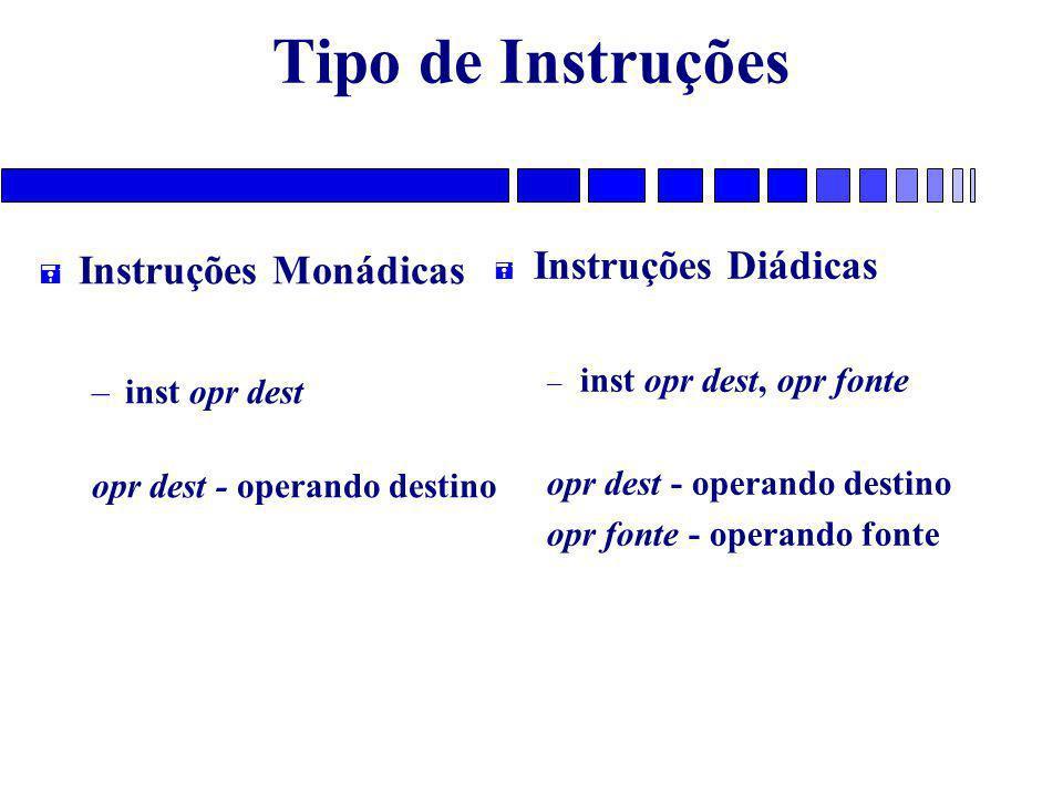 Tipo de Instruções = Instruções Monádicas – inst opr dest opr dest - operando destino = Instruções Diádicas – inst opr dest, opr fonte opr dest - operando destino opr fonte - operando fonte
