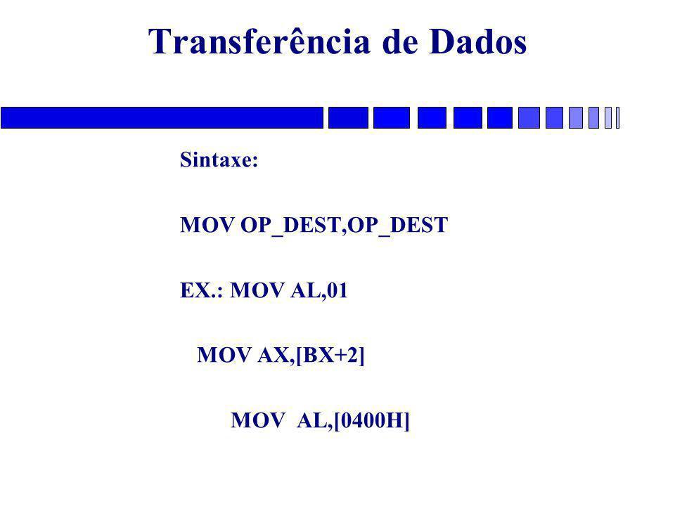 Transferência de Dados Sintaxe: MOV OP_DEST,OP_DEST EX.: MOV AL,01 MOV AX,[BX+2] MOV AL,[0400H]