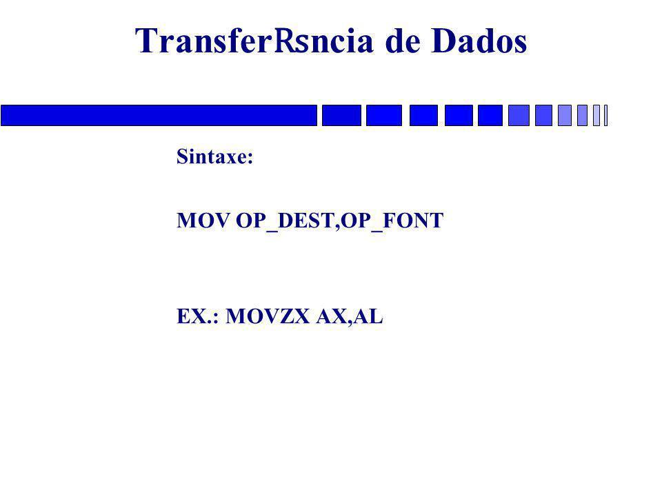 Transfer ₨ ncia de Dados Sintaxe: MOV OP_DEST,OP_FONT EX.: MOVZX AX,AL
