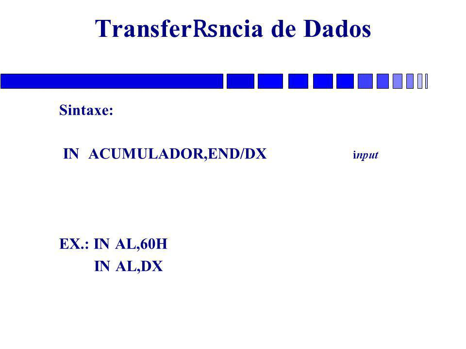 Transfer ₨ ncia de Dados Sintaxe: IN ACUMULADOR,END/DX input EX.: IN AL,60H IN AL,DX