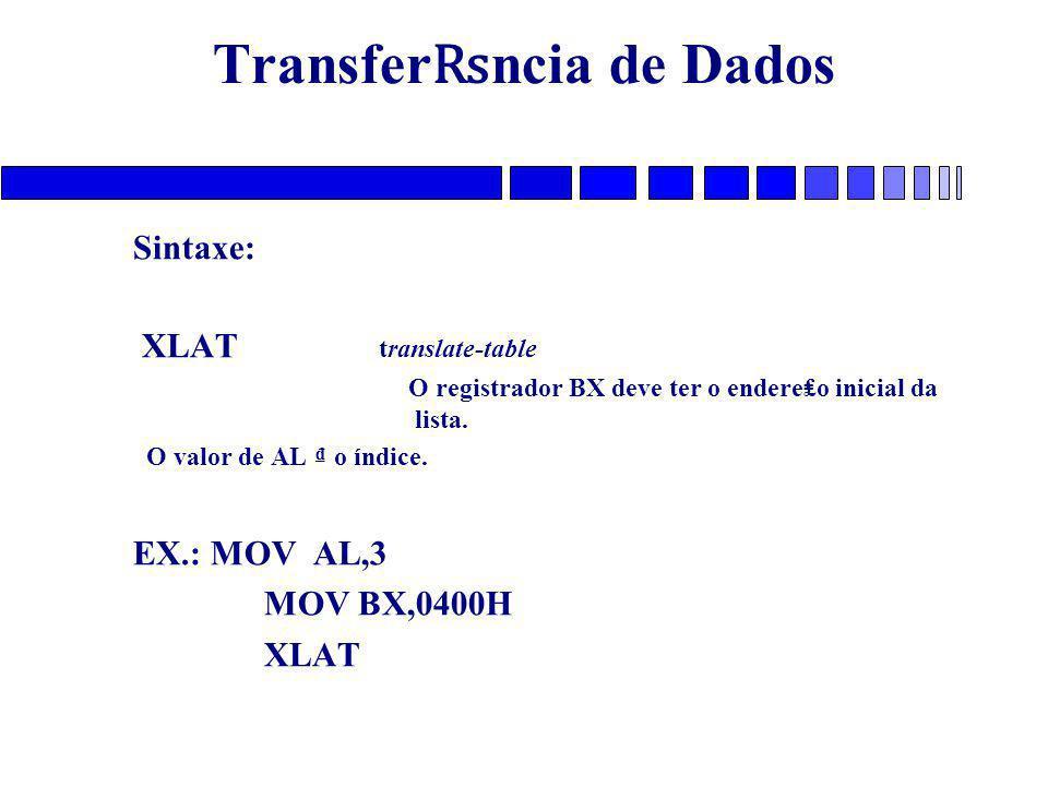 Transfer ₨ ncia de Dados Sintaxe: XLAT translate-table O registrador BX deve ter o endere₤o inicial da lista. O valor de AL ₫ o índice. EX.: MOV AL,3
