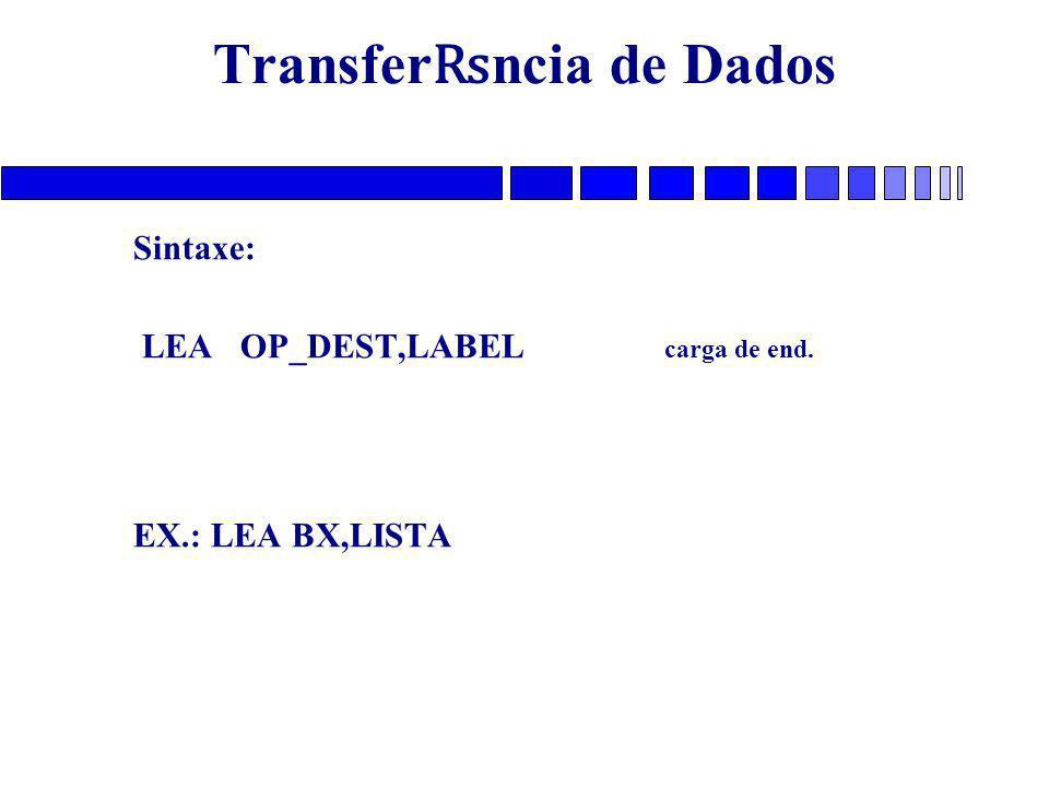 Transfer ₨ ncia de Dados Sintaxe: LEA OP_DEST,LABEL carga de end. EX.: LEA BX,LISTA