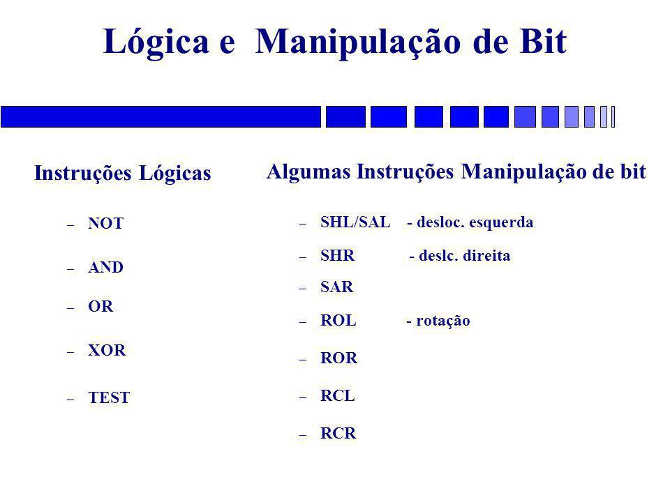 Lógica e Manipulação de Bit Instruções Lógicas – NOT – AND – OR – XOR – TEST Algumas Instruções Manipulação de bit – SHL/SAL - desloc. esquerda – SHR
