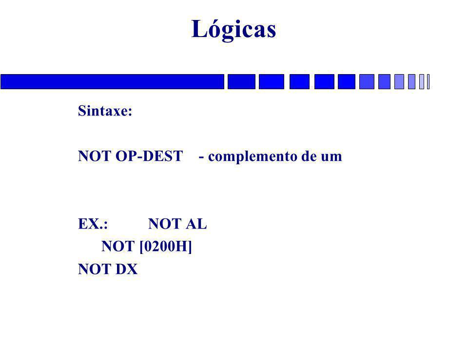 Lógicas Sintaxe: NOT OP-DEST - complemento de um EX.: NOT AL NOT [0200H] NOT DX