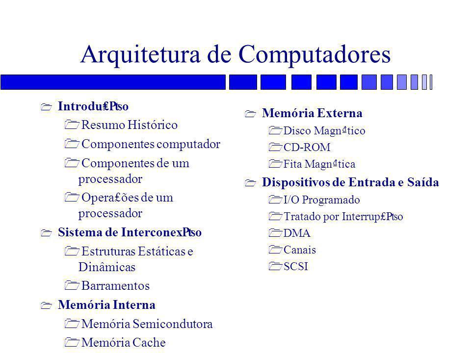 Arquitetura de Computadores 1 Introdu₤₧o 1 Resumo Histórico 1 Componentes computador 1 Componentes de um processador 1 Opera₤ões de um processador 1 S