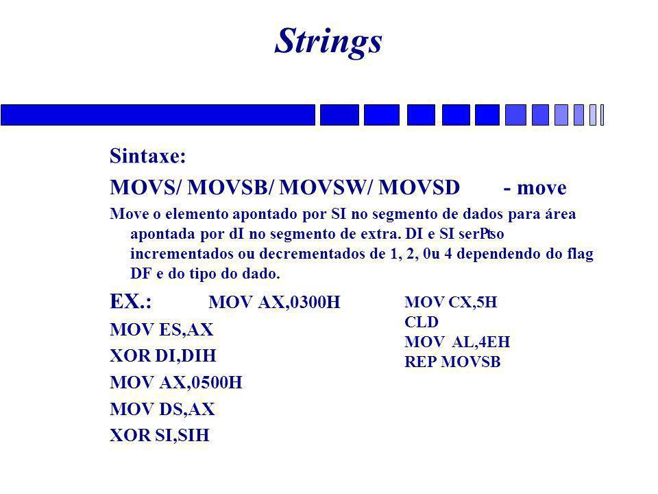 Strings Sintaxe: MOVS/ MOVSB/ MOVSW/ MOVSD - move Move o elemento apontado por SI no segmento de dados para área apontada por dI no segmento de extra.