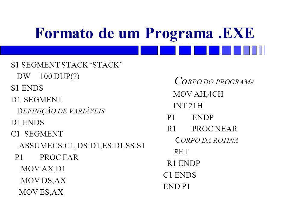 Formato de um Programa.EXE S1 SEGMENT STACK 'STACK' DW100 DUP(?) S1ENDS D1 SEGMENT D EFINIÇÃO DE VARIÁVEIS D1 ENDS C1 SEGMENT ASSUMECS:C1, DS:D1,ES:D1,SS:S1 P1PROC FAR MOV AX,D1 MOV DS,AX MOV ES,AX Co RPO DO PROGRAMA MOV AH,4CH INT 21H P1ENDP R1PROC NEAR C ORPO DA ROTINA R ET R1 ENDP C1 ENDS END P1