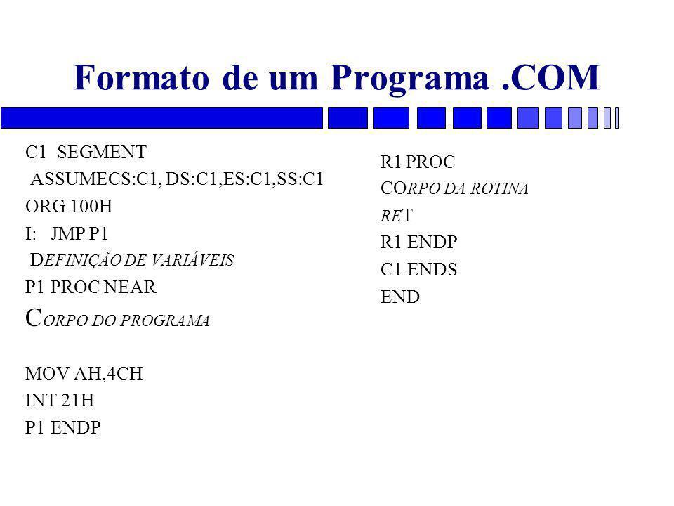 Formato de um Programa.COM C1 SEGMENT ASSUMECS:C1, DS:C1,ES:C1,SS:C1 ORG 100H I:JMP P1 D EFINIÇÃO DE VARIÁVEIS P1PROC NEAR C ORPO DO PROGRAMA MOV AH,4CH INT 21H P1ENDP R1PROC CO RPO DA ROTINA RE T R1 ENDP C1 ENDS END