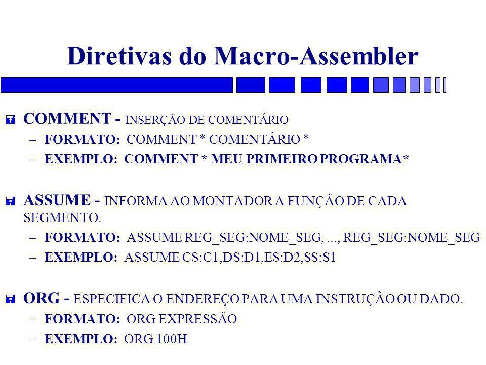 Diretivas do Macro-Assembler = COMMENT - INSERÇÃO DE COMENTÁRIO – FORMATO: COMMENT * COMENTÁRIO * – EXEMPLO: COMMENT * MEU PRIMEIRO PROGRAMA* = ASSUME - INFORMA AO MONTADOR A FUNÇÃO DE CADA SEGMENTO.