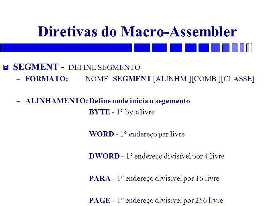 Diretivas do Macro-Assembler = SEGMENT - DEFINE SEGMENTO – FORMATO: NOME SEGMENT [ALINHM.][COMB.][CLASSE] – ALINHAMENTO: Define onde inicia o segement
