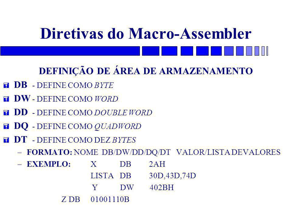 Diretivas do Macro-Assembler DEFINIÇÃO DE ÁREA DE ARMAZENAMENTO = DB - DEFINE COMO BYTE = DW - DEFINE COMO WORD = DD - DEFINE COMO DOUBLE WORD = DQ - DEFINE COMO QUADWORD = DT - DEFINE COMO DEZ BYTES – FORMATO: NOME DB/DW/DD/DQ/DT VALOR/LISTA DEVALORES – EXEMPLO:XDB2AH LISTA DB30D,43D,74D Y DW 402BH ZDB01001110B