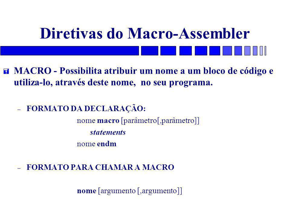 Diretivas do Macro-Assembler = MACRO - Possibilita atribuir um nome a um bloco de código e utiliza-lo, através deste nome, no seu programa. – FORMATO