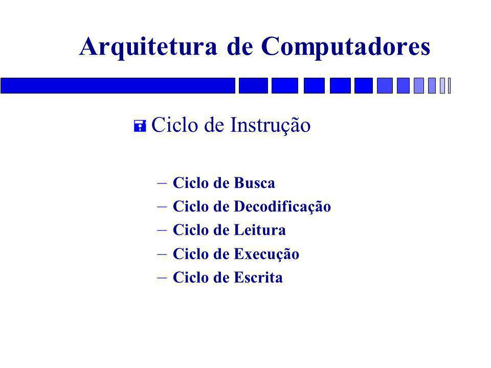 Arquitetura de Computadores = Ciclo de Instrução – Ciclo de Busca – Ciclo de Decodificação – Ciclo de Leitura – Ciclo de Execução – Ciclo de Escrita