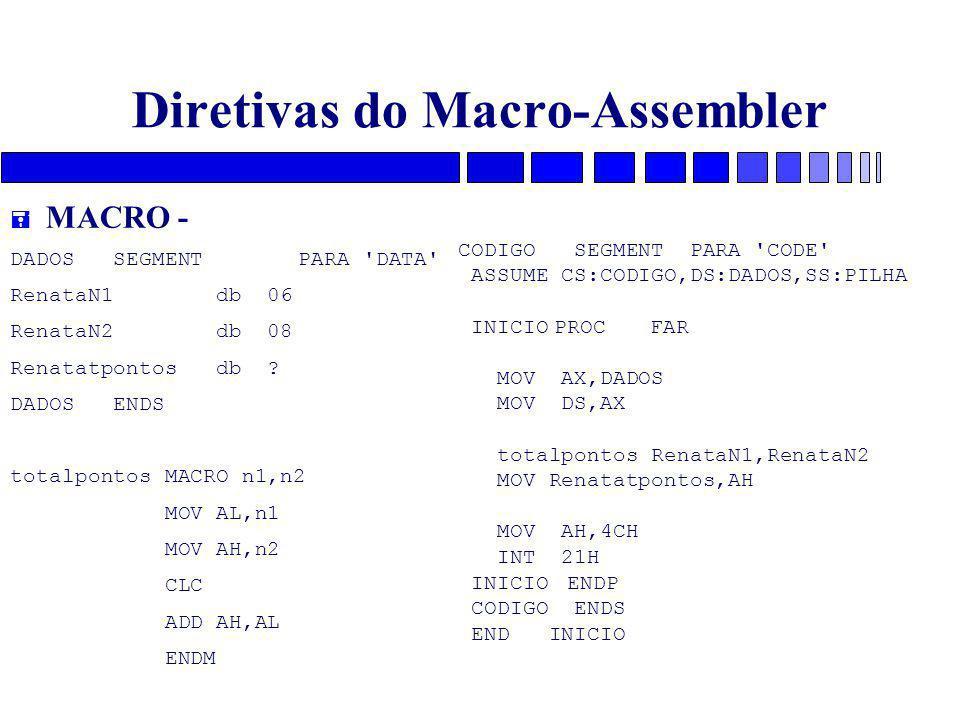 Diretivas do Macro-Assembler = MACRO - DADOS SEGMENTPARA 'DATA' RenataN1 db 06 RenataN2 db 08 Renatatpontos db ? DADOS ENDS totalpontos MACRO n1,n2 MO