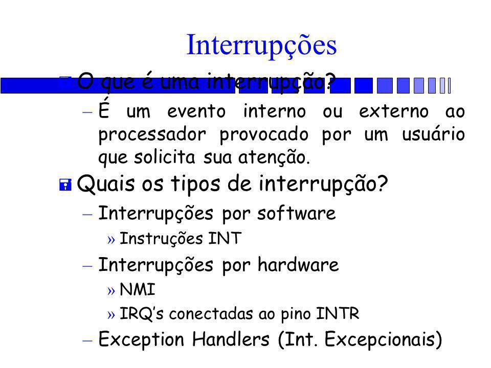 Interrupções = O que é uma interrupção? – É um evento interno ou externo ao processador provocado por um usuário que solicita sua atenção. = Quais os
